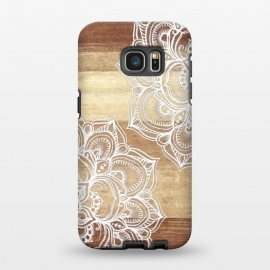 Galaxy S7 EDGE  White doodles on blonde wood by Micklyn Le Feuvre ()