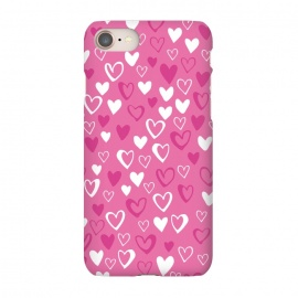 iPhone 7 SlimFit Pink Lovehearts by Kimrhi Studios (Pink,Hearts,loveheart,valentines,romance)