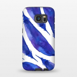 Galaxy S7  Blue Watercolor Feathers by Amaya Brydon