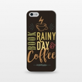 iPhone 5/5E/5s  Book, Rainy Day & Coffee (a master blend) by Dellán (Coffee, book,rain,cold,pleasure,good vibes,gourmet,reading,geek)