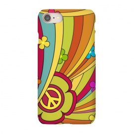 iPhone 8/7  Peace (1960´s Fancy) by Dellán (vintage,retro,60´s,1960,classic,old fashioned,hobby,gender neutraL,PEACE AND LOVE,rock and roll,Psychedelia,flowers,colorful,music,good vibes)