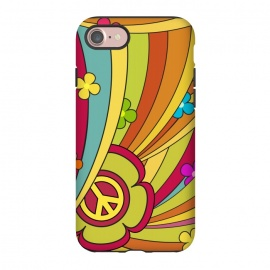 iPhone 7 StrongFit Peace (1960´s Fancy) by Dellán (vintage,retro,60´s,1960,classic,old fashioned,hobby,gender neutraL,PEACE AND LOVE,rock and roll,Psychedelia,flowers,colorful,music,good vibes)