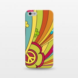 iPhone 5/5E/5s  Peace (1960's Fancy) by Dellán (vintage,retro,60's,1960,classic,old fashioned,hobby,gender neutraL,PEACE AND LOVE,rock and roll,Psychedelia,flowers,colorful,music,good vibes)