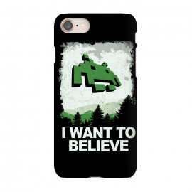 iPhone 7 SlimFit I WANT TO BELIEVE by SKULLPY (SKULLPY,XFILES,MOVIES, FILMS, TV, TV SHOWS,SPACE INVADERS,80'S,90'S,80S,90S,EIGHTIES, NINETIES,MULDER, SCULLY,PIXEL, PIXELART, RETROGAMING,INVADERS,I WANT TO BELIEVE,X FILES,SPRITES,NAMCO)