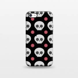 iPhone 5C StrongFit Skulls Pattern by Dellán (skull,spooky,funny,halloween,witch,katrina,pattern,black and white,skeleton)