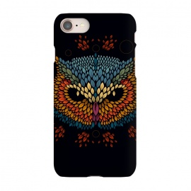 iPhone 7 SlimFit Owl Face by Q-Artwork (vector,animal,owl,leaves,leaf,pattern,nature,bird,geometric)