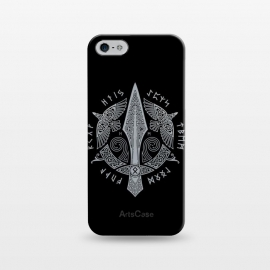 iPhone 5/5E/5s  GUNGNIR ( Odin's Spear ) by RAIDHO (vikings,gungnir,odin,spear,nordic mythology,ravens,odin's ravens,hugin and munin,knotwork,runes,futhark)