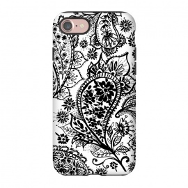 iPhone 7  Ink paisley by Laura Grant (paisley,blackandwhite,pattern)