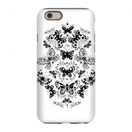iPhone 6/6s StrongFit Ink butterfly by Laura Grant (butterfly,floral,pattern,pretty,black and white)