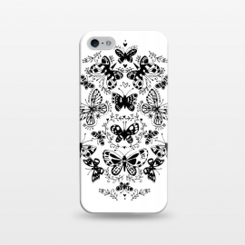 iPhone 5/5E/5s  Ink butterfly by Laura Grant (butterfly,floral,pattern,pretty,black and white)