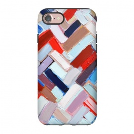 iPhone 8/7  Colorful Chevron by Ann Marie Coolick (abstract painting,modern,colorful,chevron,red,purple,neutral,pop art)
