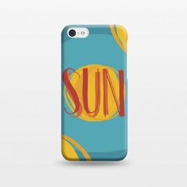 iPhone 5C  Hot Sun on Blue Sky by Dellán (sun,summer,spring,hot,beach,sea,party,warm,fresh,typographic,text,hipster,trendy,cheerful,colorful,good vibes,paint,oil paint,brush,paint brush,art,artistic)