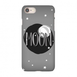 iPhone 8/7  Bright Moon & Stars by Dellán (moon,full moon,typographyc,text,stars,space,ufo,planets,astrology,milky way,black and white,sun,night,dark,darkness,astronaut,trendy,nerd,geek,hipster)
