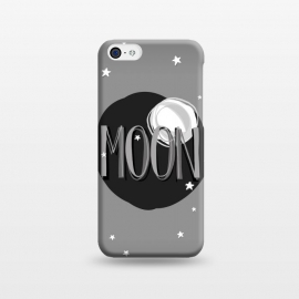 iPhone 5C  Bright Moon & Stars by Dellán (moon,full moon,typographyc,text,stars,space,ufo,planets,astrology,milky way,black and white,sun,night,dark,darkness,astronaut,trendy,nerd,geek,hipster)