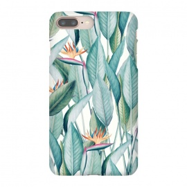 iPhone 8/7 plus  Back to Paradise by  (watercolor, other, pattern, realism, bird of paradise, floral, nature, botanical, tropical, exotic, island, vacation, green, bloom)