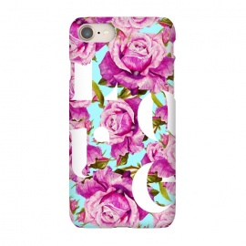 iPhone 7 SlimFit Love by Uma Prabhakar Gokhale (graphic, typography, floral, pattern, roses, love, pink, blue, exotic, lovely, nature, pretty)