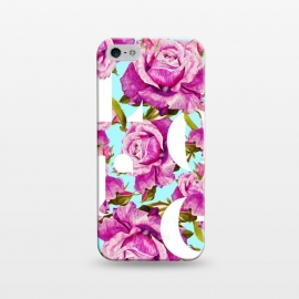 iPhone 5/5E/5s  Love by Uma Prabhakar Gokhale (graphic, typography, floral, pattern, roses, love, pink, blue, exotic, lovely, nature, pretty)