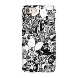 iPhone 7 SlimFit Monochrome by Uma Prabhakar Gokhale (ink pen, colored pencil, pattern, vector, floral, nature, black and white, exotic, free hand)