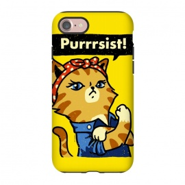 iPhone 7 StrongFit Purrrsist! by Vó Maria (cat,cats,kitten,poster,propaganda,vintage,world war,rosie,riveter,rosie the riveter,feminist,feminism,girl,power)