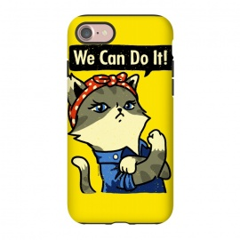 iPhone 7 StrongFit We Can Do It! Purrrsist! by Vó Maria (cats,cat,vintage,poster,propaganda,war,world,animal,cute,feminist,feminism,girl,power)