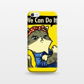 iPhone 5C  We Can Do It! Purrrsist! by Vó Maria (cats,cat,vintage,poster,propaganda,war,world,animal,cute,feminist,feminism,girl,power)