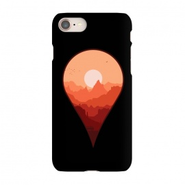 iPhone 7 SlimFit Destination Unknown by Grant Stephen Shepley (outdoors,travel,adventure,nature,roadtrip,sun,sky,mountain,mountains,van,vector,minimal,map,sunset,combi,silhoutte,geography)
