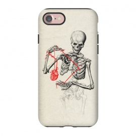 iPhone 7 StrongFit I need a heart to feel complete by 38 Sunsets (skull,bones,skeleton,heart,blood,veins,drawing,tattoo,scary, frightening, fearful, dreadful,dead,undead,alive,zombie,horror,love,life)