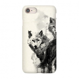 iPhone 7 SlimFit Wolf by 38 Sunsets (wolf,wolves,watercolor,black,painting,wild,animal,animals,dog,dogs,art,artwork,hand painted,texture)