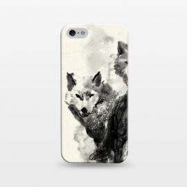 iPhone 5/5E/5s SlimFit Wolf by 38 Sunsets (wolf,wolves,watercolor,black,painting,wild,animal,animals,dog,dogs,art,artwork,hand painted,texture)