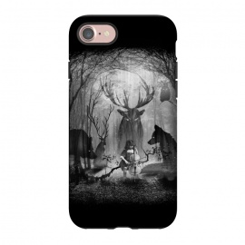 iPhone 7 StrongFit Concerto by 38 Sunsets (music,classic music,cello,wolf,fox,deer,owl,bird,forest,woods,ghost,ghosts,trees,surreal,fantasy,fog,animal,spirit,spirite of the forest,concert,sound,magic,photography,mixed-media,black and white,kid,child,night,moonlight,moon,dark,light)