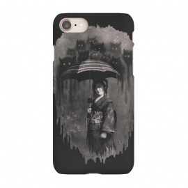 iPhone 7 SlimFit Lady Rain by 38 Sunsets (japanese,japan,kimono,rain,cats,ghosts,ghost,geisha,scary,spirit,texture,monochrome,mysterious,woman,girl,horror,fantasy,rain drops,manga,anime,miyazaki,portrait,mystic,dream,dreamy)