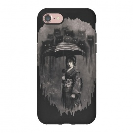 iPhone 7 StrongFit Lady Rain by 38 Sunsets (japanese,japan,kimono,rain,cats,ghosts,ghost,geisha,scary,spirit,texture,monochrome,mysterious,woman,girl,horror,fantasy,rain drops,manga,anime,miyazaki,portrait,mystic,dream,dreamy)