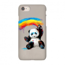 iPhone 7 SlimFit Giant Painter by 38 Sunsets (panda,cute,giant panda,bear,rainbow,painting,watercolor,happy,smile,smiling,smiley,black and white,black,white,colorful,black & white,kid,child)