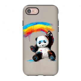 iPhone 7 StrongFit Giant Painter by 38 Sunsets (panda,cute,giant panda,bear,rainbow,painting,watercolor,happy,smile,smiling,smiley,black and white,black,white,colorful,black & white,kid,child)