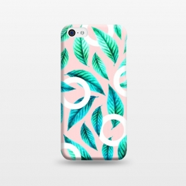 iPhone 5C  Tropical Nirvana by Uma Prabhakar Gokhale (graphic, vector, nature, pattern, leaves, geometrical, tropical, exotic, pink)