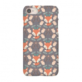 iPhone 7 SlimFit Foxes and bunnies by Maria Jose Da Luz (rabbits,foxes,bunnies,leaves,plants,nature,cute,girly,pattern,happy)