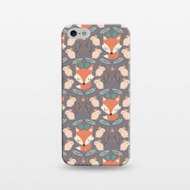 iPhone 5/5E/5s  Foxes and bunnies by Maria Jose Da Luz (rabbits,foxes,bunnies,leaves,plants,nature,cute,girly,pattern,happy)