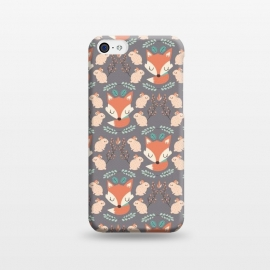 iPhone 5C  Foxes and bunnies by Maria Jose Da Luz (rabbits,foxes,bunnies,leaves,plants,nature,cute,girly,pattern,happy)