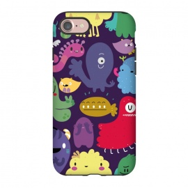 iPhone 7 StrongFit Colorful monsters by Maria Jose Da Luz (monsters,creatures,colors,girls,teens,happy)