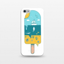iPhone 5/5E/5s  Melted Landscape by Coffee Man (ice cream,beach,sea,summer,vacation,spring bread,melted,animal,shark,sand,sun,boat,hot)