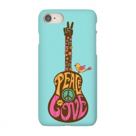 iPhone 7 SlimFit Peace and love by Coffee Man (Guitar,music,peace,love,70s,hippy,bird,floral,no war,cute,type,hand lettering,lettering,vintage,retro)