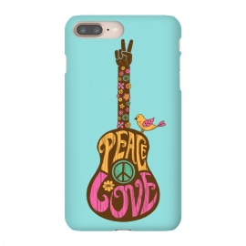 iPhone 8/7 plus  Peace and love by Coffee Man (Guitar,music,peace,love,70s,hippy,bird,floral,no war,cute,type,hand lettering,lettering,vintage,retro)