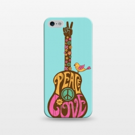 iPhone 5/5E/5s  Peace and love by  (Guitar,music,peace,love,70s,hippy,bird,floral,no war,cute,type,hand lettering,lettering,vintage,retro)