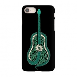 iPhone 7 SlimFit Snake Guitar by Coffee Man (guitar,snake,music,floral,nature,leave,funny,cool,wild,animal,reptil,serpiente,guitarra,green)
