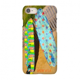 iPhone 7 SlimFit Surfin USA by Bettie * Blue (beach,surfboards,surfing,montauk,california,vintage,retro,summer)