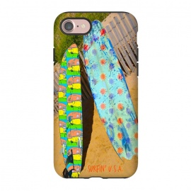 iPhone 7 StrongFit Surfin USA by Bettie * Blue (beach,surfboards,surfing,montauk,california,vintage,retro,summer)