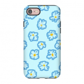 iPhone 7 StrongFit Happy Daysies by Bettie * Blue (daisies, daisy,flower,floral,blue,blue floral,flower pattern)
