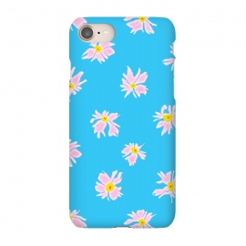iPhone 7 SlimFit Pink Snow & Sky by Bettie * Blue (daisies, daisy, flowers, floral, pattern,pink,blue, sky,feminine,happy,bright colors)