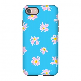 iPhone 7 StrongFit Pink Snow & Sky by Bettie * Blue (daisies, daisy, flowers, floral, pattern,pink,blue, sky,feminine,happy,bright colors)