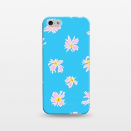 iPhone 5/5E/5s  Pink Snow & Sky by Bettie * Blue (daisies, daisy, flowers, floral, pattern,pink,blue, sky,feminine,happy,bright colors)